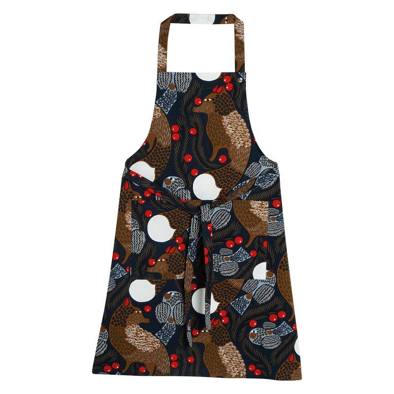 Marimekko Ketunmarja apron, dark blue - brown