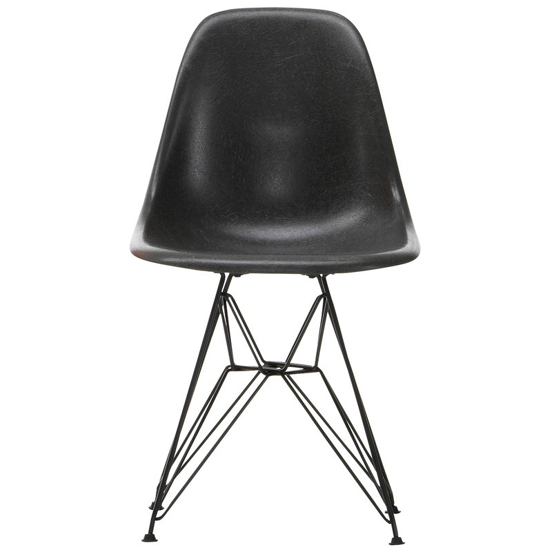 Vitra Eames DSR Fiberglass Chair, elephant hide grey - black