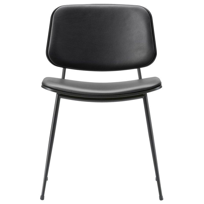 Fredericia Sedia Søborg 3062, base acciaio nero, rovere nero - pelle nera
