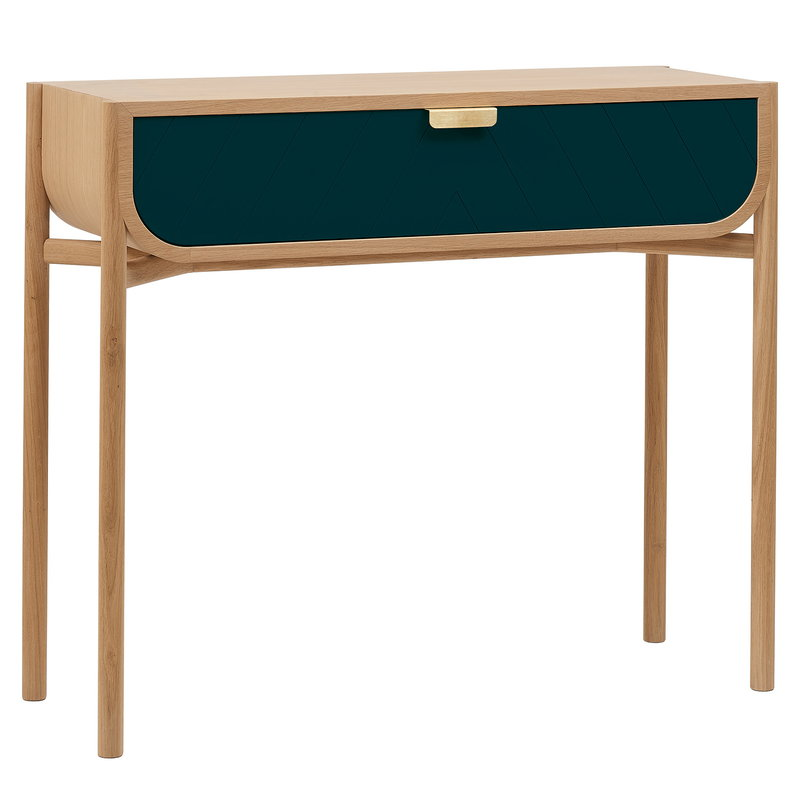 Harto Marius console table, oak - petrol blue