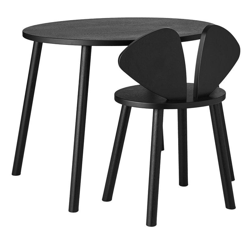 Nofred Mouse school set, table 58 cm, chair 40 cm, black