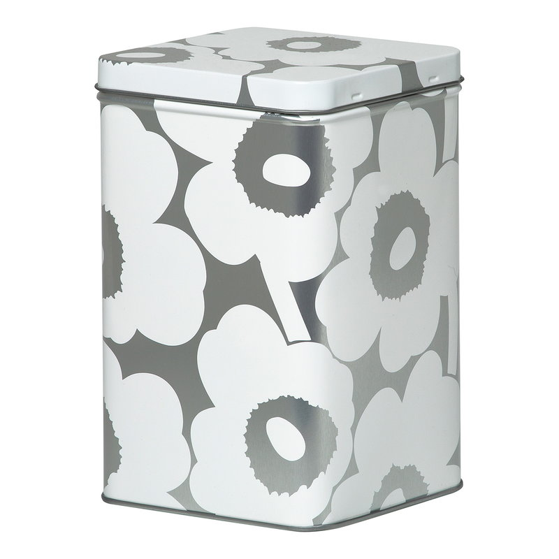 Marimekko Unikko tin box, grey - white