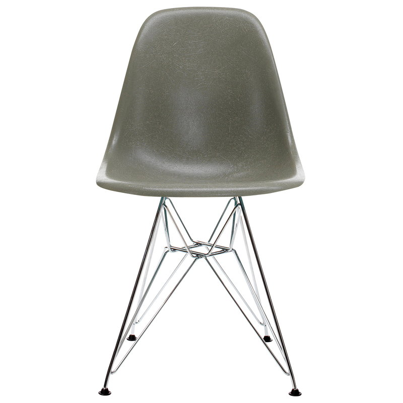 Vitra Eames DSR Fiberglass Chair, raw umber - chrome
