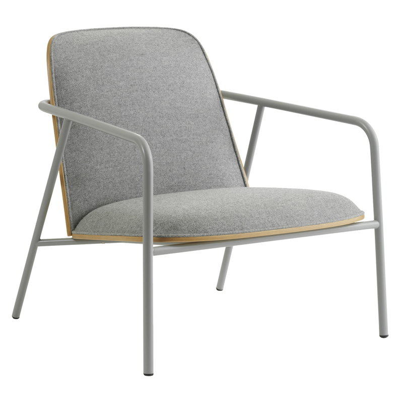 Normann Copenhagen Pad lounge chair low, grey steel - oak - Synergy LDS 16