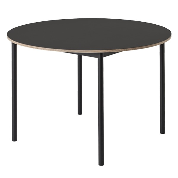 Muuto Base table round 110 cm, linoleum with plywood edges, black