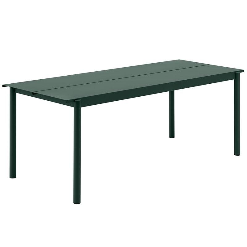 Muuto Linear Steel pöytä 200 x 75 cm, tummanvihreä