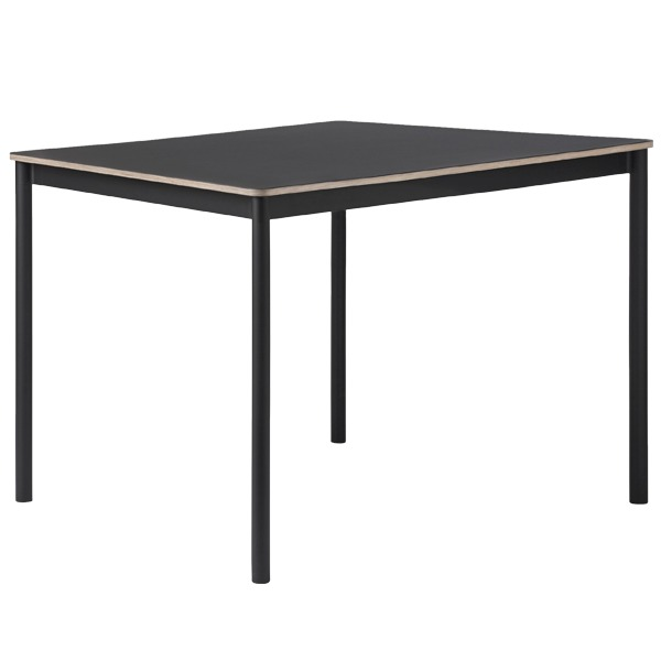 Muuto Base table 140 x 80 cm, linoleum with plywood edges, black