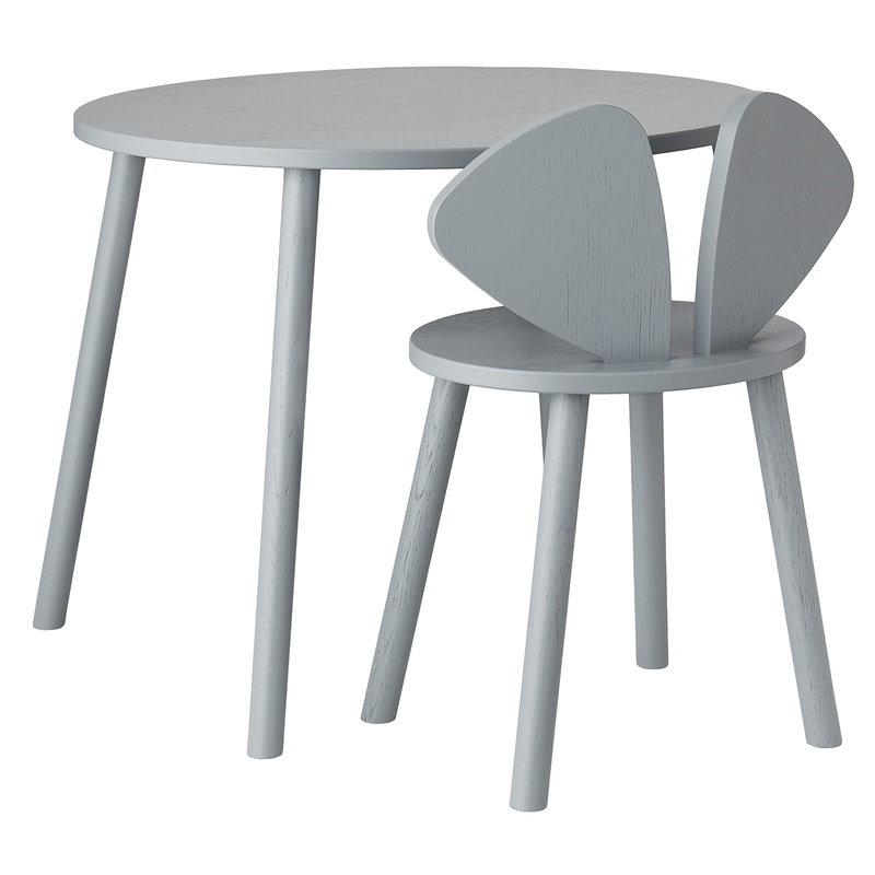 Nofred Mouse school set, table 58 cm, chair 40 cm, grey