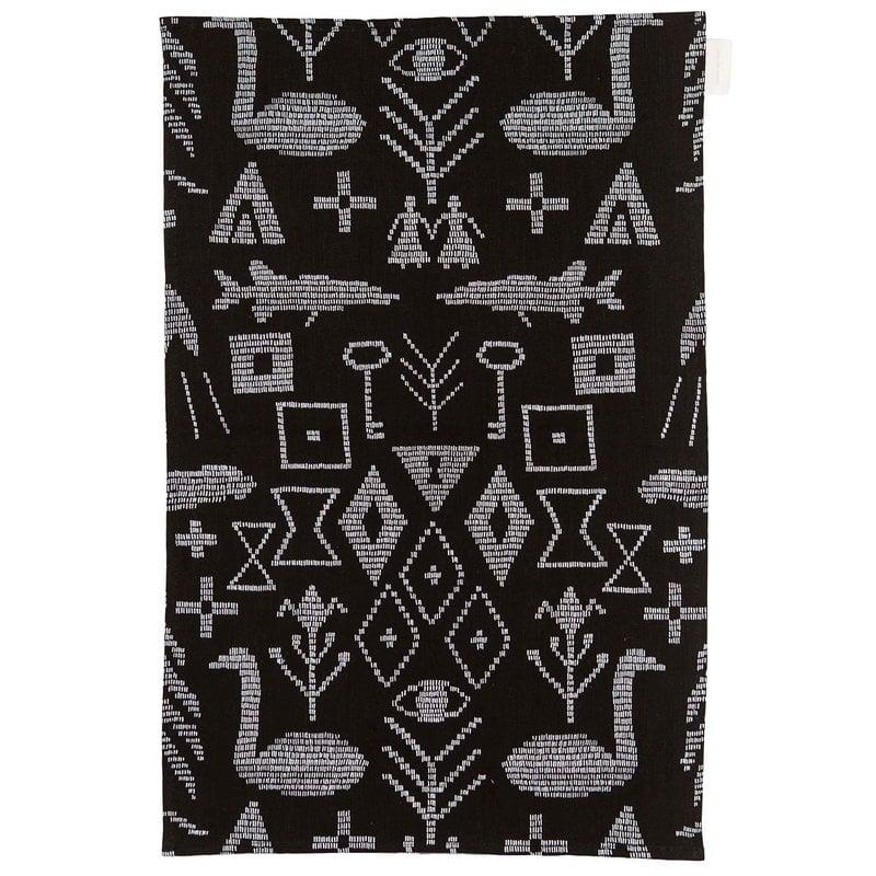 Saana ja Olli Maailman synty tea towel/placemat, large, black