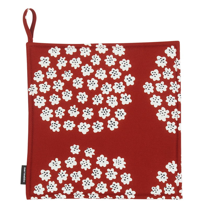 Marimekko Puketti pot holder, red - dark blue - white