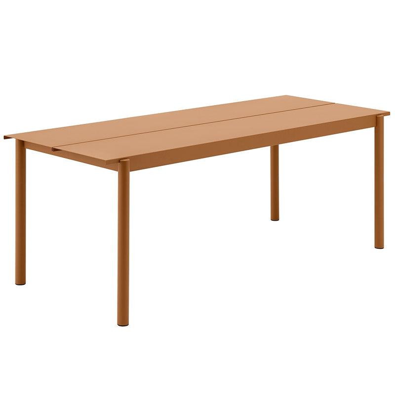 Muuto Linear Steel pöytä 200 x 75 cm, poltettu oranssi