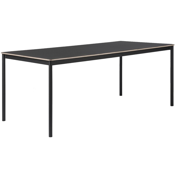 Muuto Base table 190 x 85 cm, linoleum with plywood edges, black