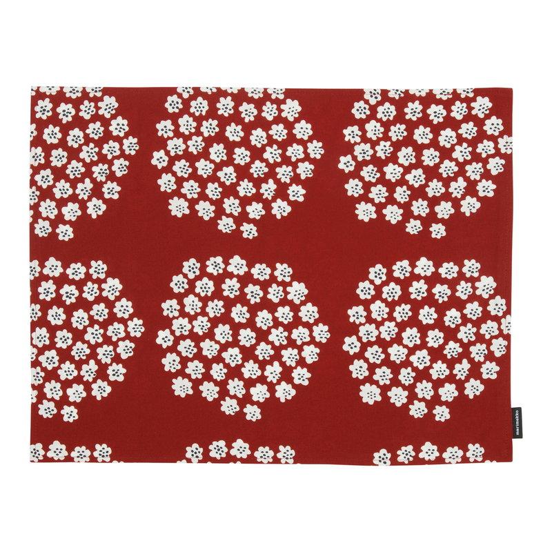 Marimekko Puketti coated cotton placemat, red - dark blue - white