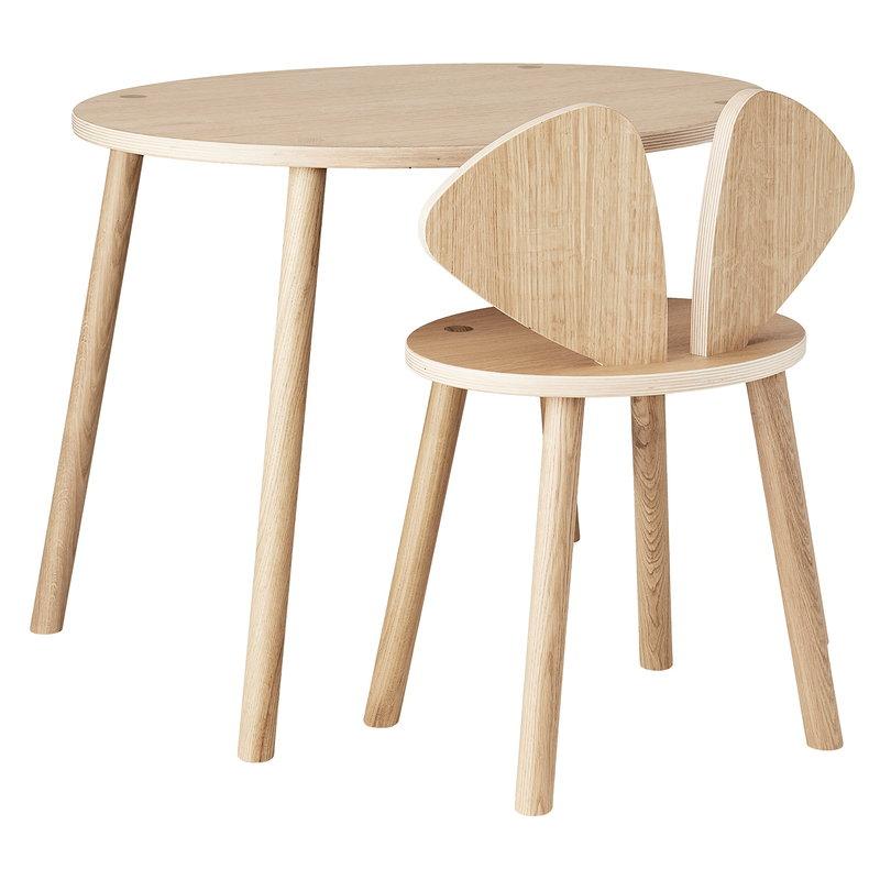 Nofred Mouse koulusetti, pöytä 58 cm, tuoli 40 cm, tammi