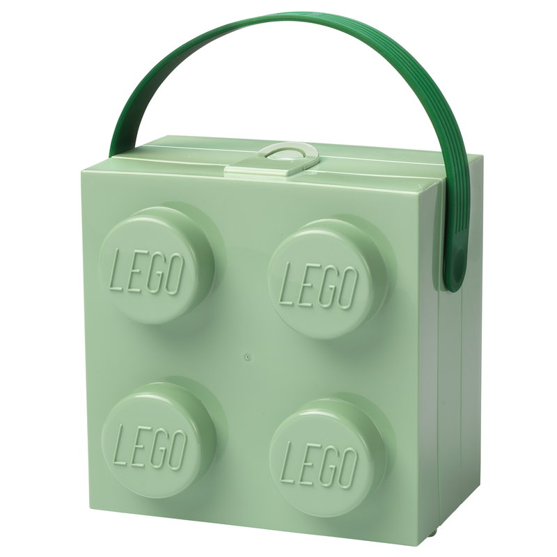 Room Copenhagen Lego lunch box with handle, sand green