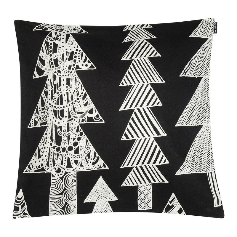 Marimekko Kuusikossa cushion cover 45 x 45 cm, black - white