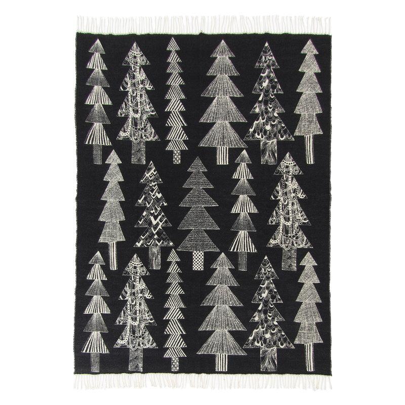 Marimekko Kuusikossa blanket 130 x 170 cm, black - white