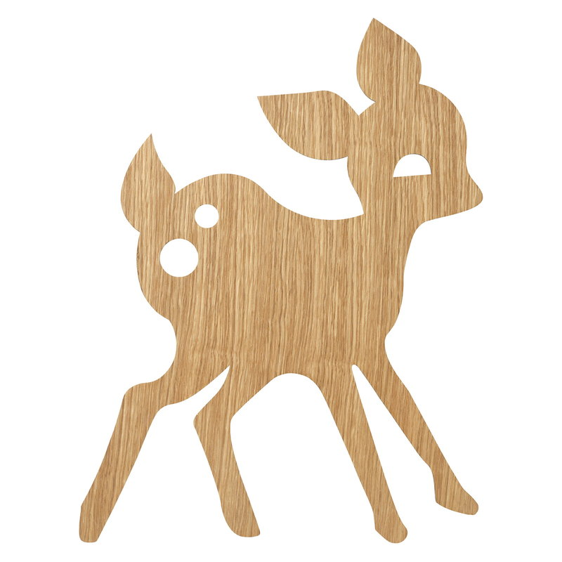 Ferm Living My Deer seinävalaisin, öljytty tammi