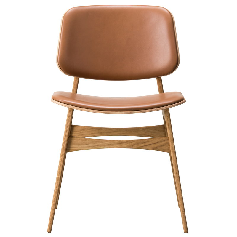 Fredericia Søborg chair 3052, wood base, lacquered oak - cognac leather