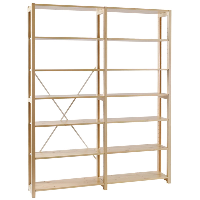 Lundia Classic open shelf, double, natural