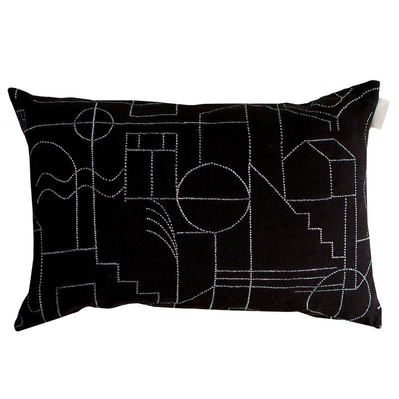 Saana ja Olli Unien talo cushion cover, 40 x 60 cm, black - white