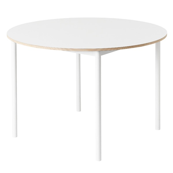 Muuto Base table round 110 cm, laminate with plywood edges, white