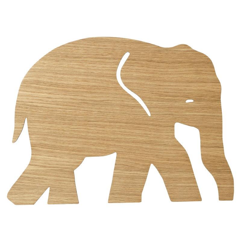 Ferm Living Elefantti seinävalaisin, öljytty tammi