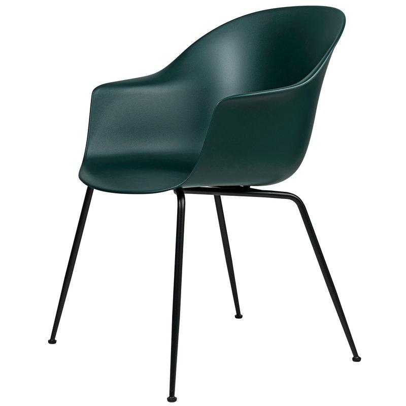 Gubi Bat tuoli, tummanvihreä - mustat jalat