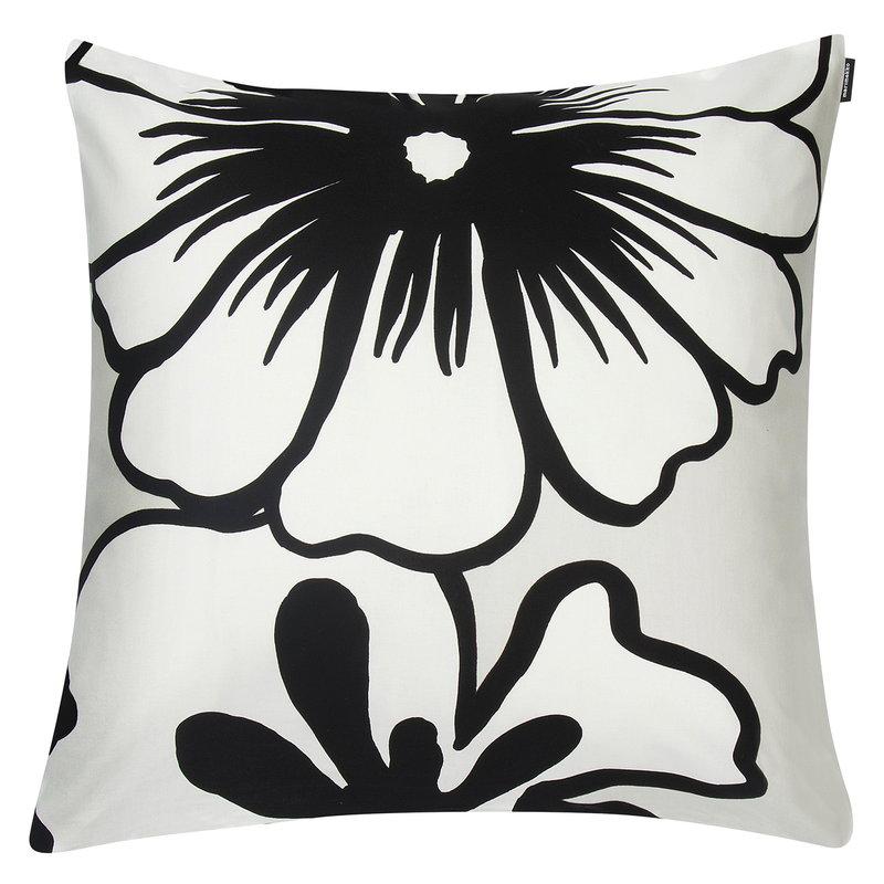 Marimekko Eläköön elämä tyynynpäällinen 50 x 50 cm, harmaa-valkoinen-musta