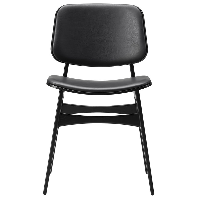Fredericia Søborg chair 3052, wood base, black oak - black leather