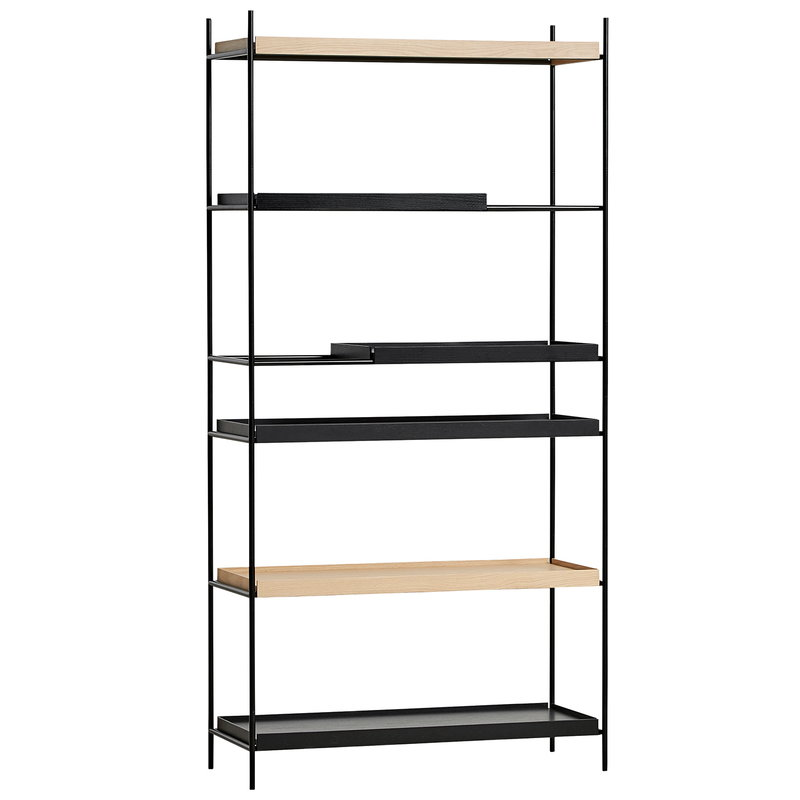 Woud Tray shelf, high, 2 oak - 2+2 black