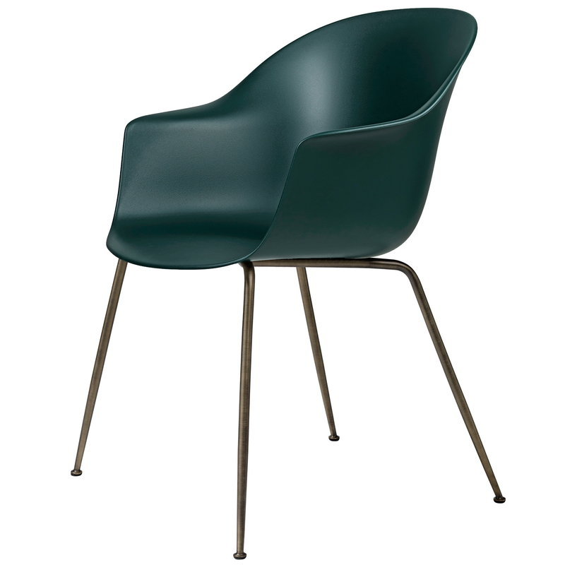 Gubi Bat chair, dark green - antique brass base