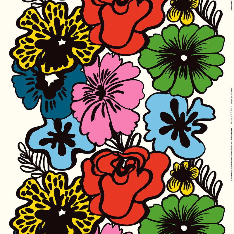 Marimekko Eläköön elämä fabric, red-blue-yellow