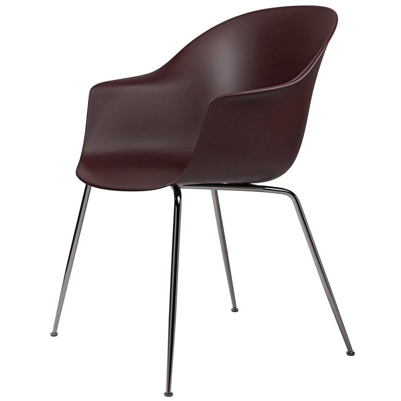 Gubi Bat tuoli, dark pink - mustat kromijalat