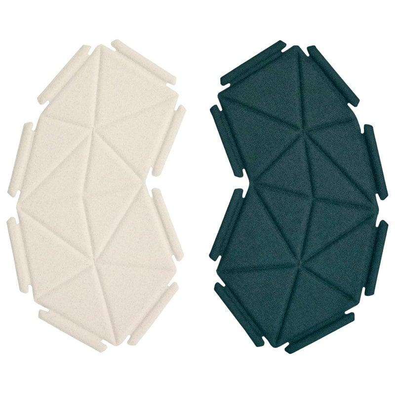 Kvadrat Clouds fabric tiles, 8 pcs, deep teal - white