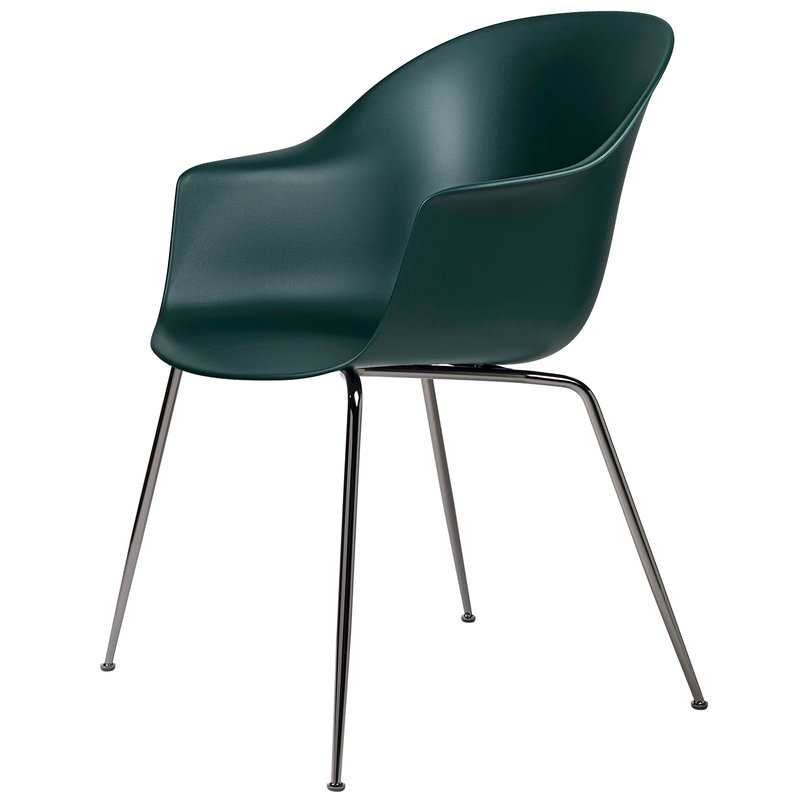 Gubi Bat chair, dark green - black chrome base