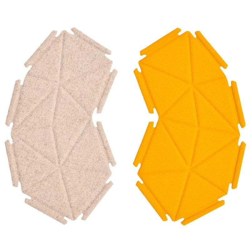 Kvadrat Clouds fabric tiles, 8 pcs, beige - tangerine