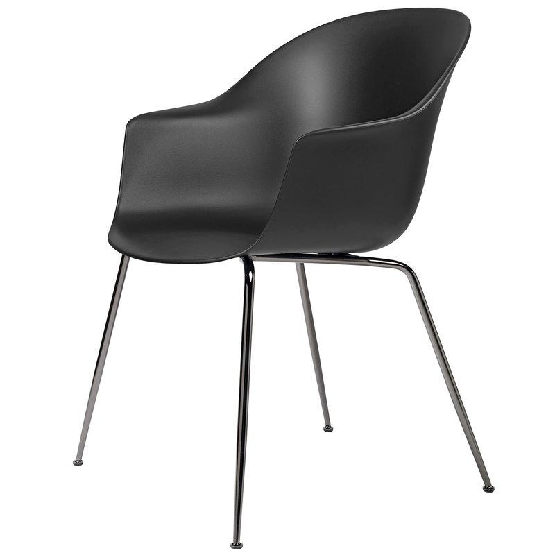 Gubi Bat chair, black - black chrome base