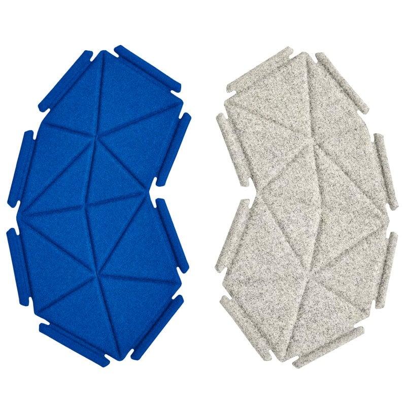 Kvadrat Clouds fabric tiles, 8 pcs, grey - ultramarine