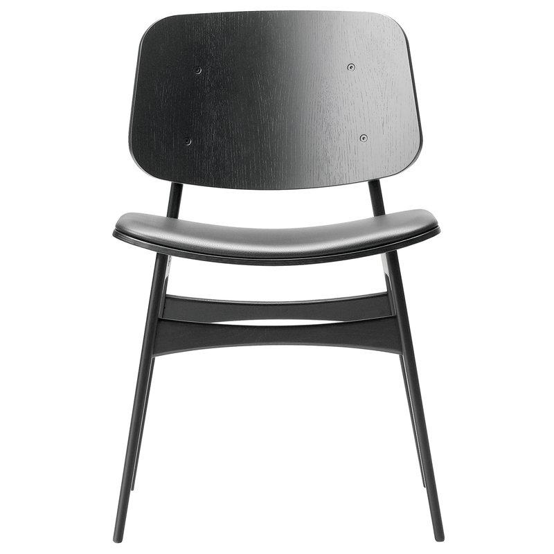Fredericia Sedia Søborg 3051, base in legno, rovere nero - pelle nera