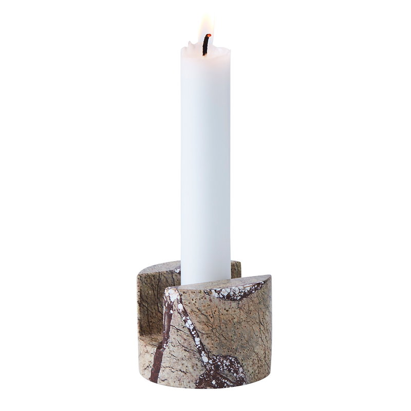 Warm Nordic Gap single candleholder, brown crackle