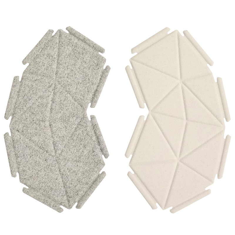 Kvadrat Clouds fabric tiles, 8 pcs, grey - white