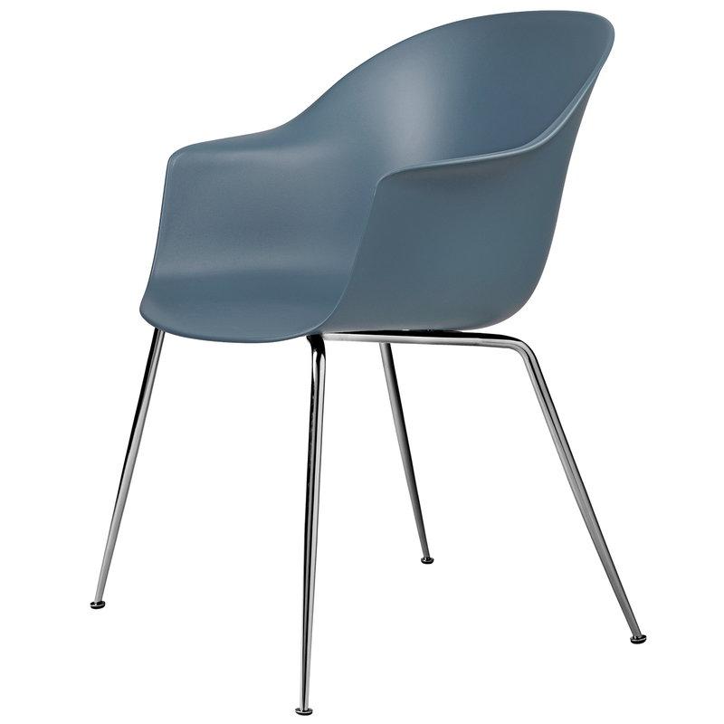 Gubi Bat chair, smoke blue - chrome base
