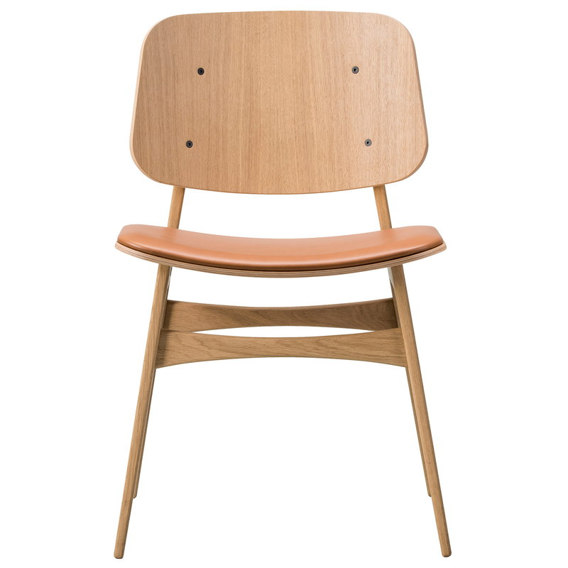 Fredericia Søborg chair 3051, wood base, lacquered oak - cognac leather