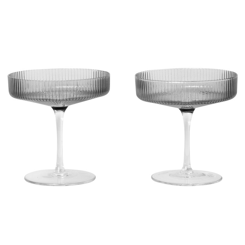 Ferm Living Ripple champagne saucer, 2 pcs, smoked grey