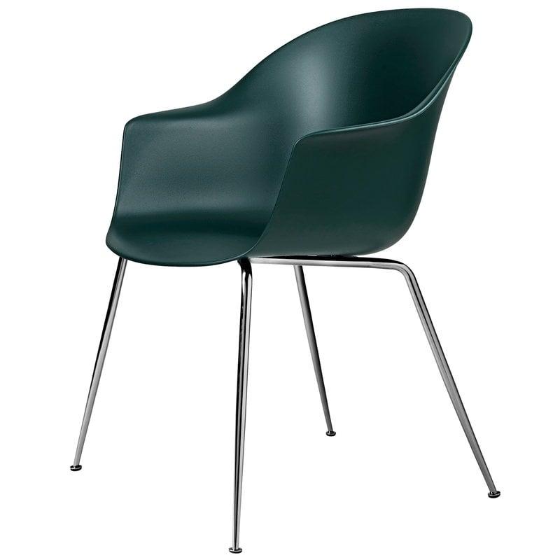 Gubi Bat chair, dark green - chrome base
