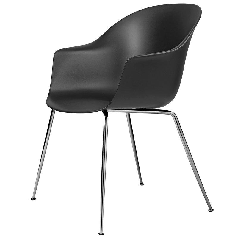 Gubi Bat chair, black - chrome base