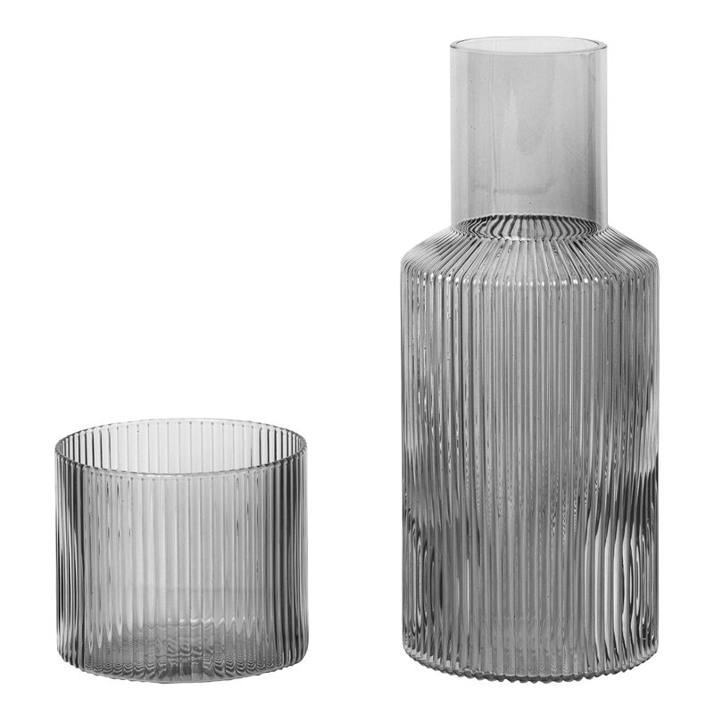Ferm Living Ripple carafe set, small, smoked grey