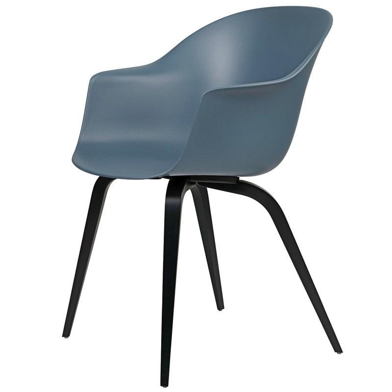 Gubi Bat chair, smoke blue - black beech base