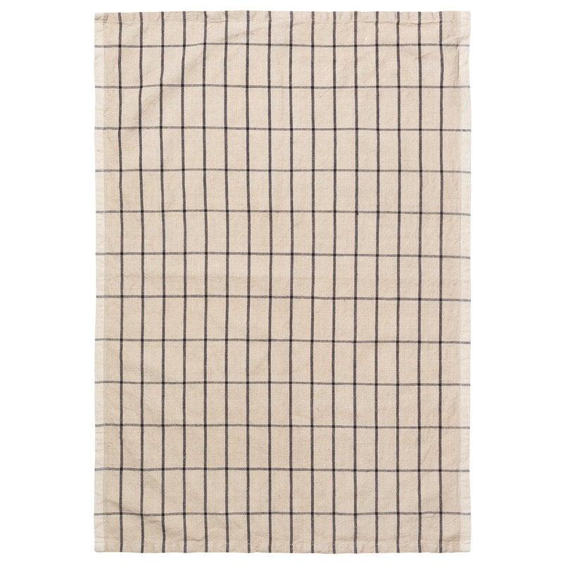 Ferm Living Hale tea towel, sand - black